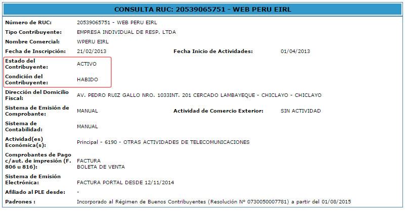 Ficha RUC WEB PERU EIRL